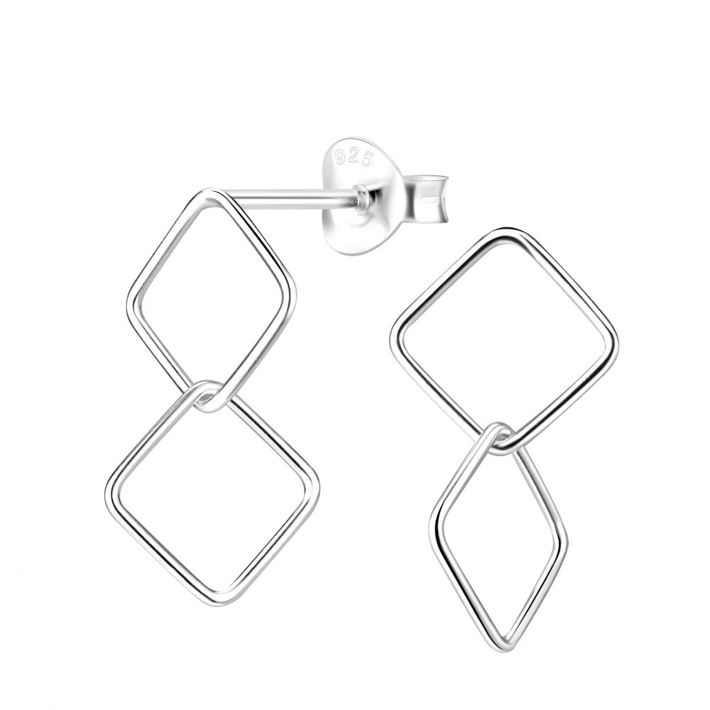 Wholesale Silver Twisted Square Stud Earrings