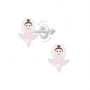 Wholesale Silver Ballerina Screw Back Earrings