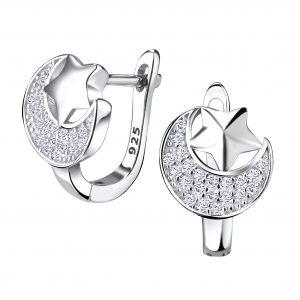 Wholesale Silver Moon and Star Huggie Earrings