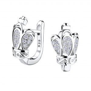 Wholesale Silver Crown Huggie Earrings