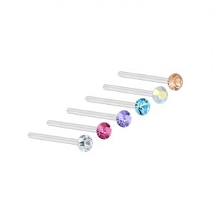 Wholesale 2mm Multi Color Crystal Silver Nose Stud Set - 6 Pack