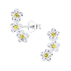 Wholesale Silver Triple Crystal Flower Stud Earrings