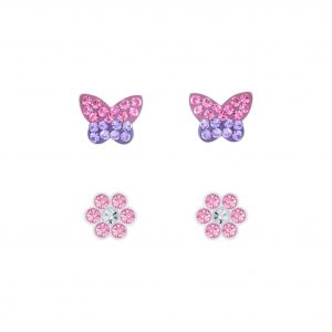 Wholesale Silver Butterfly and Flower Stud Earrings Set