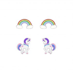 Wholesale Silver Rainbow and Unicorn Stud Earrings Set