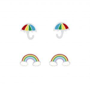 Wholesale Silver Rainbow and Umbrella Stud Earrings Set