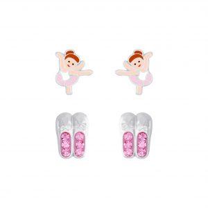 Wholesale Silver Ballerina Stud Earrings Set