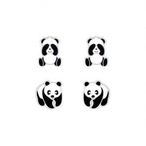 Wholesale Silver Panda Stud Earrings Set