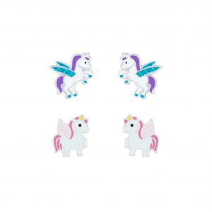 Wholesale Silver Unicorn Stud Earrings Set