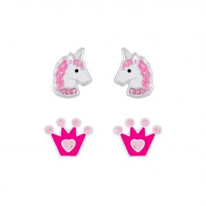 Wholesale Silver Unicorn and Crown Stud Earrings Set