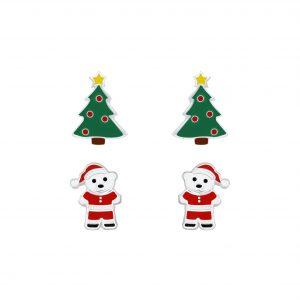 Wholesale Silver Christmas Stud Earrings Set