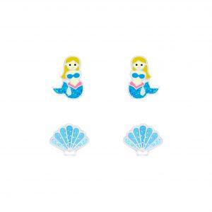 Wholesale Silver Mermaid and Shell Stud Earrings Set