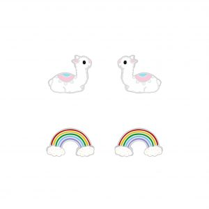 Wholesale Silver Llama and Rainbow Stud Earrings Set