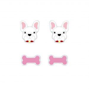 Wholesale Silver Dog Lovers Stud Earrings Set
