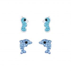 Wholesale Silver Ocean Stud Earrings Set