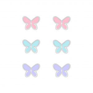 Wholesale Silver Butterfly Stud Earrings Set
