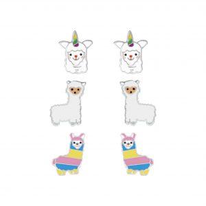 Wholesale Silver Llama Stud Earrings Set