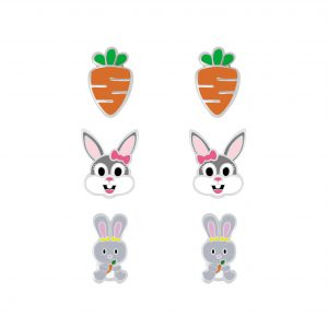 Wholesale Silver Carrot and Rabbit Stud Earrings Set