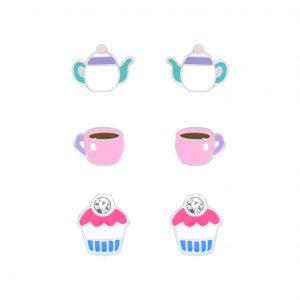 Wholesale Silver Tea Time Stud Earrings Set