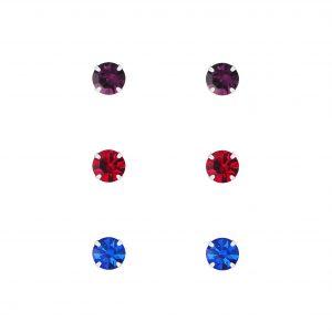 Wholesale 4mm Crystal Silver Stud Earrings Set