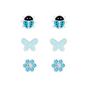 Wholesale Silver Blue Stud Earrings Set