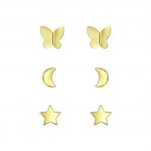 Wholesale Silver Gold Stud Earrings Set