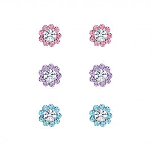 Wholesale Silver Flower Stud Earrings Set