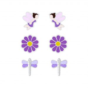 Wholesale Silver Purple Stud Earrings Set