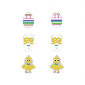Wholesale Silver Easter Stud Earrings Set