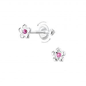 Wholesale Silver Flower Screw Back Earrings