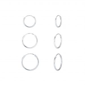 Wholesale 12mm 14mm and 16mm  Silver Hoop Earrings Set