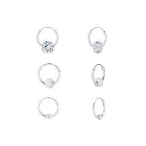 Wholesale Silver Mixed Hoop Earrings Set