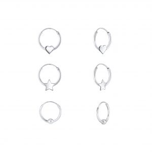 Wholesale Silver Heart Star and Ball Hoop Earrings Set