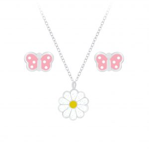 Wholesale Silver Butterfly Necklace and Daisy Stud Earrings Set