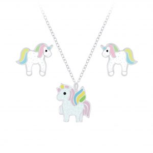 Wholesale Silver Unicorn Necklace and Stud Earrings Set