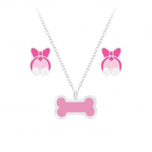 Wholesale Silver Dog Necklace and Stud Earrings Set