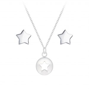 Wholesale Silver Star Necklace and Stud Earrings Set