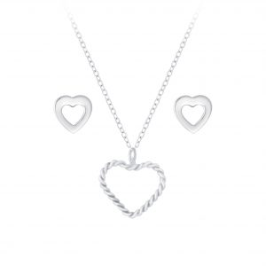 Wholesale Silver Heart Necklace and Stud Earrings Set