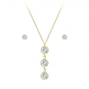 Wholesale Silver Sparkling Necklace and Stud Earrings Set