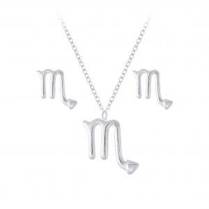 Wholesale Silver Scorpio Zodiac Sign Necklace and Stud Earrings Set
