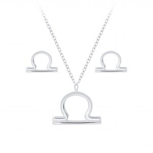 Wholesale Silver Libra Zodiac Sign Necklace and Stud Earrings Set