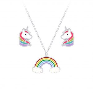 Wholesale Silver Rainbow Necklace and Unicorn Stud Earrings Set