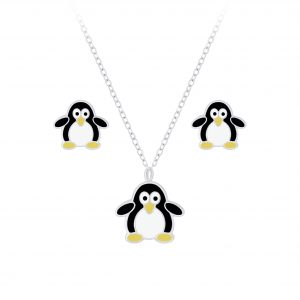 Wholesale Silver Penguin Necklace and Stud Earrings Set