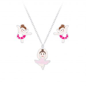 Wholesale Silver Ballerina Necklace and Stud Earrings Set