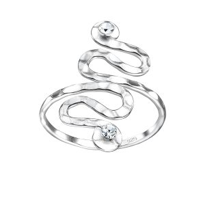 Wholesale Silver Spiral Crystal Ring