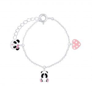 Wholesale Silver Panda Lovers Bracelet