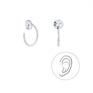 Wholesale 5mm Crystal Silver Ear Huggers