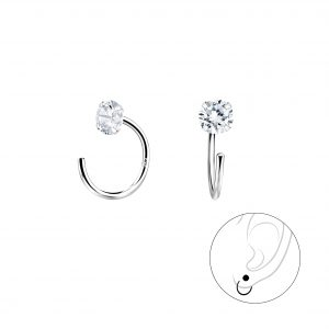 Wholesale 4mm Round Cubic Zirconia Silver Ear Huggers
