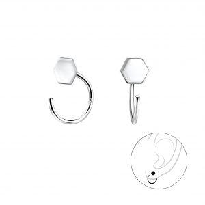 Wholesale Silver Hexagon Ear Huggers