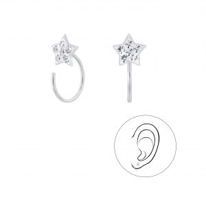 Wholesale Silver Star Crystal Ear Huggers