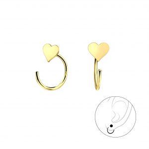 Wholesale Silver Heart Ear Huggers